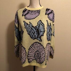 Vintage Yellow Shell Kawaii Sweater